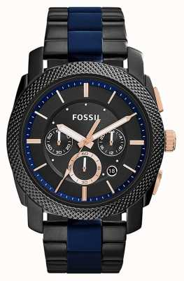 Fossil Mens Black Chronograph Dial Two Tone Strap FS5164