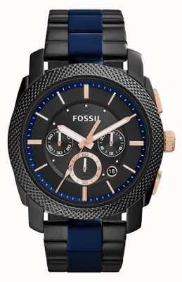 Fossil Mens Black Chronograph Dial Two Tone Strap FS5164