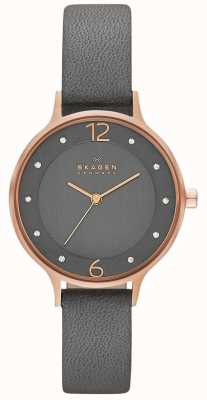 Skagen Womans Grey Dial Rose Gold Case Grey Leather Strap SKW2267