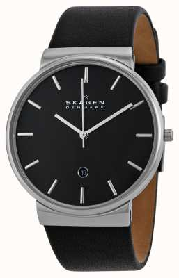 Skagen Mens Round Black Dial Black Leather Strap SKW6104