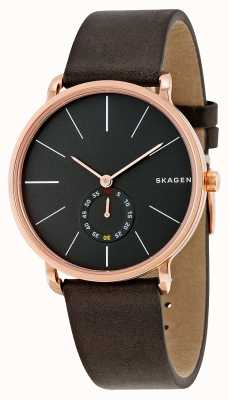 Skagen Mens Black Dial Rose Gold Case Brown Leather Strap SKW6213