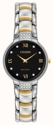 Citizen Womens 24 Diamond Two Tone Bracelet Black Dial EX1464-54E
