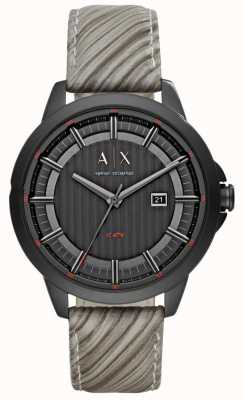 Armani Exchange Mens Grey Leather Strap Black Dial AX2264