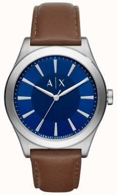 Armani Exchange Mens Brown Leather Strap Blue Dial Stainless Steel Case AX2324