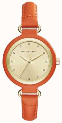 Armani Exchange Womans Orange Leather Strap Gold Dial AX4243