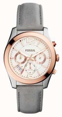 Fossil Womans Grey Leather Strap Rose Gold Plated Case ES4081