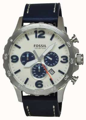 Fossil Mens Blue Leather Strap Cream Chronograph Dial JR1480