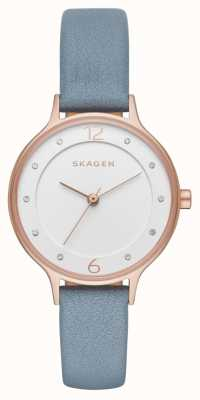 Skagen Womans Slim Anita Leather Strap White Dial SKW2497