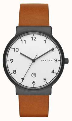 Skagen Mens Brown Leather Strap Round White Dial SKW6297