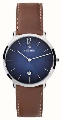 Michel Herbelin Mens Ikone Grande Brown Leather Strap Blue Dial 19515/15