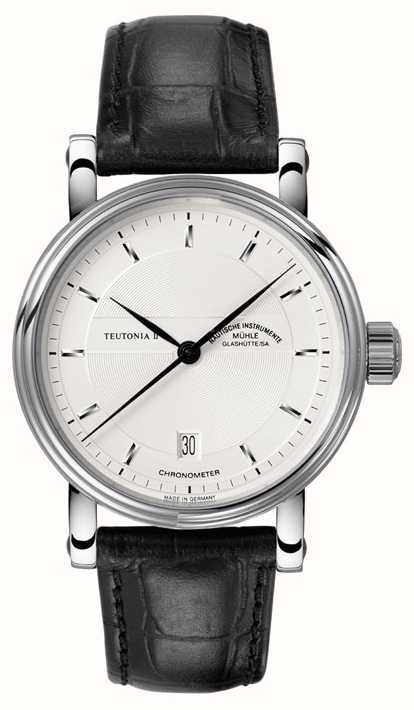 Muhle Glashutte Teutonia Ii Chronometer Leather Band Silver Dial M1