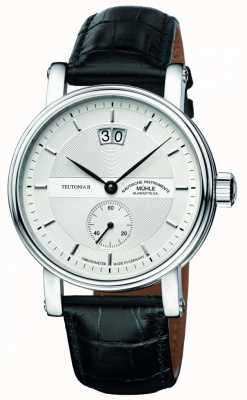 Muhle Glashutte Teutonia II Grossdatum Chronometer Leather Band Silver  Dial M1-33-75-LB