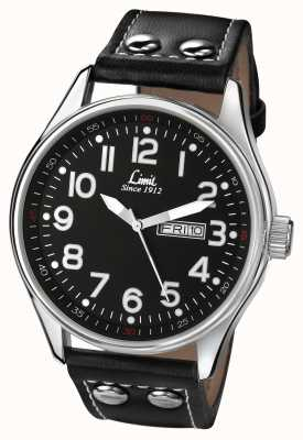 Limit Mens Black Leather Strap Round Black Dial 5491.01