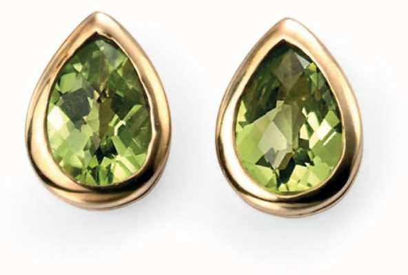 Elements Gold 9ct Yellow Gold  Peridot Teardrop Stud Earrings GE489G