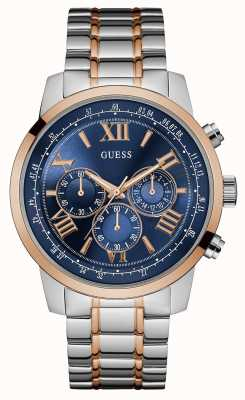 Guess Mens Horizon Two Tone Metal Strap Blue Chronograph Dial W0379G7