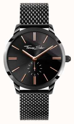 Thomas Sabo Womans Glam Spirit Black Steel Mesh Strap Black Dial WA0277-202-203-33