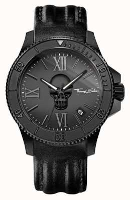 Thomas Sabo Mens Rebel Icon Black Leather Strap Black Steel Case WA0278-213-203-44