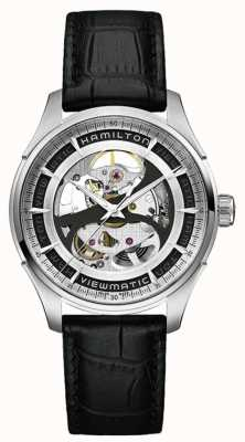 Hamilton Mens Viewmatic Skeleton Stainless Steel Dial Black Strap H42555751