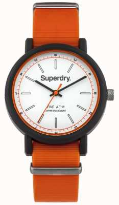 Superdry Mens Campus Nato Orange Rubber Strap White Dial SYG197O
