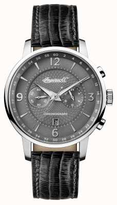 Ingersoll Mens 1892 The Grafton Black Leather Strap Grey Dial I00601
