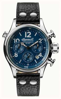 Ingersoll Mens Discovery The Armstrong Black Leather Strap Blue Dial I02001