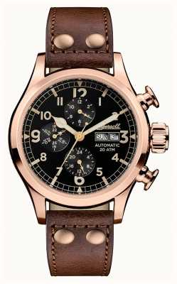 Ingersoll Mens Discovery The Armstrong Brown Leather Strap I02201