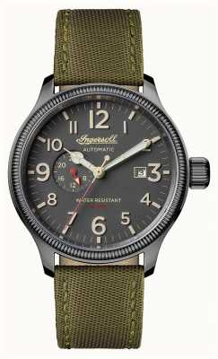 Ingersoll Mens Discovery The Apsley Green Leather Strap Grey Dial I02802