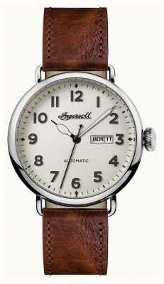 Ingersoll Mens Chronicle The Trenton Brown Leather Strap White Dial I03402
