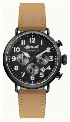 Ingersoll Mens Chronicle The Trenton Brown Leather Strap Black Dial I03502