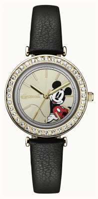 Disney By Ingersoll Womens Union The Disney Black Leather Strap Silver Dial ID00301