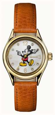 Disney By Ingersoll Womens Union The Disney Brown Leather Strap Silver Dial ID00901