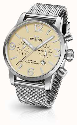 TW Steel Mens Maverick Steel Mesh Strap Cream Chronograph Dial 45mm MB3