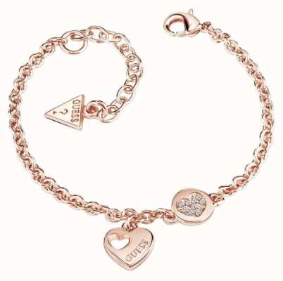Guess Womans Heart Devotion Sparkle Heart Coin Bracelet Rose Gold UBB82059-L