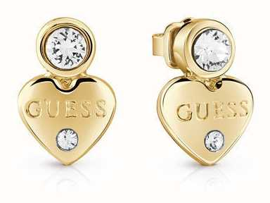 Guess Womans Guessy Little Heart Studs Gold UBE82002