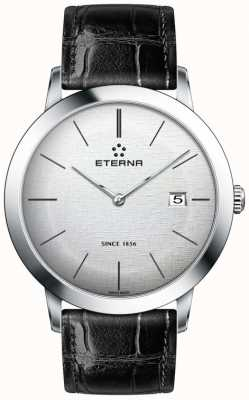 Eterna Mens Quartz Silver Brushed Dial Black Leather Strap 2710.41.10.1383