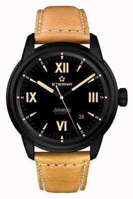Eterna Mens Eternity Automatic Leather Strap Black Dial Black Case 2970.43.42.1353