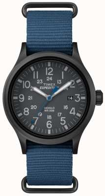 Timex Mens Scout Black Dial Blue Fabric Strap TW4B04800