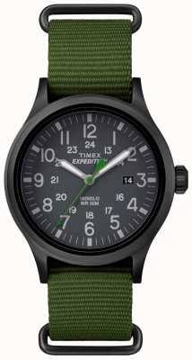 Timex Mens Scout Black Dial Green Fabric Strap TW4B04700