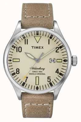 Timex Mens Waterbury Beige Leather Strap Cream Dial TW2P83900