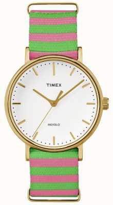 Timex Womans Weekender Fairfax Pink Green Strap TW2P91800
