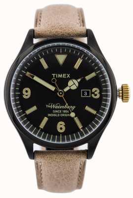 Timex Mens The Waterbury Beige Leather Strap Black Dial TW2P74900