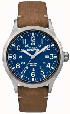 Timex Mens Scout Blue Dial Brown Leather Strap TW4B01800