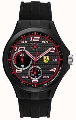 Scuderia Ferrari Mens Lap Time Black Rubber Strap Black Dial 0830290