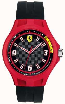Scuderia Ferrari Mens Pit Crew Black Rubber Strap Red Case 0830284