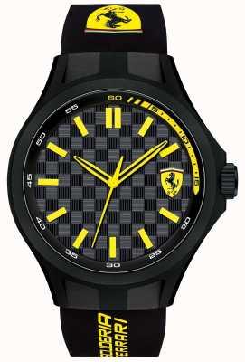Scuderia Ferrari Mens Pit Crew Black Rubber Strap Black Dial 0830286