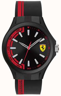 Scuderia Ferrari Mens Pit Crew Black Rubber Strap Black Dial Black Case 0830367