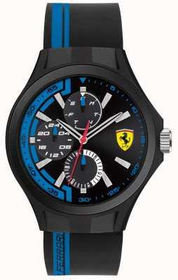Scuderia Ferrari Mens Pit Crew Black Rubber Strap Black Dial 0830368