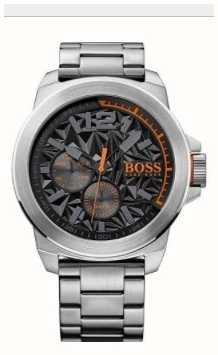 Hugo Boss Orange Mens New York Stainless Steel Bracelet Black Dial 1513406