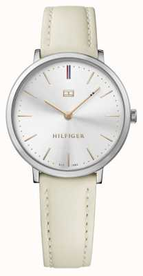 Tommy Hilfiger Womens Pippa White Leather Strap Silver Dial 1781691