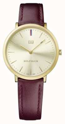 Tommy Hilfiger Womens Pippa Brown Leather Strap Gold Dial 1781692